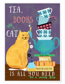Premium poster  Tea, books and a cat - Elisandra Sevenstar
