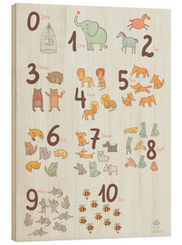 Wood print  Animal numbers for the nursery - Petit Griffin