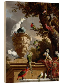 Wood print  The Menagerie - Melchior de Hondecoeter