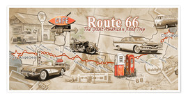 Premium poster  Route 66 Map - Georg Huber