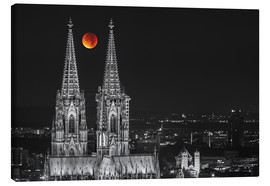 Canvas  Blood Red Moon Cologne Cathedral - rclassen