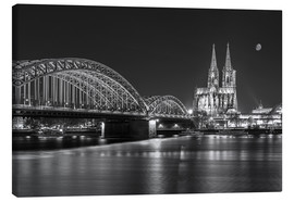 Canvas  Cologne Cathedral and Hohenzollern Bridge at night (b / w) - rclassen