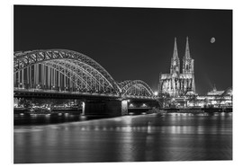 Foam board print  Cologne Cathedral and Hohenzollern Bridge at night (b / w) - rclassen