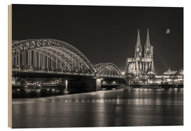 Wood print  Cologne Cathedral and Hohenzollern Bridge at night (b / w) - rclassen