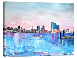 Canvas  Hamburg HafenCity Elbphilharmonie with Skyline - M. Bleichner