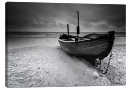 Canvas print  Fishing boat on the beach monochrome - Filtergrafia