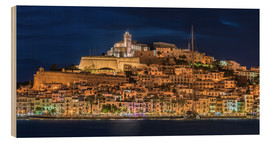 Wood print  Ibiza Spain castle by night - FineArt Panorama