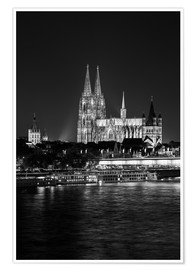 Premium poster  Cologne Cathedral at night - rclassen