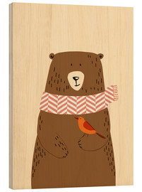 Wood print  Bear in the fall - Sandy Lohß