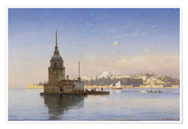 Premium poster The Maiden's Tower (Maiden Tower) with Istanbul in the background