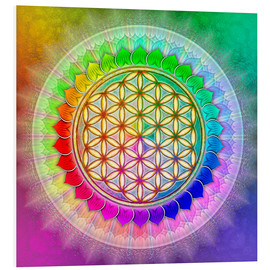 Foam board print  Flower of life - rainbow lotus artwork II - Dirk Czarnota