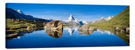 Canvas  Swiss mountains with the Matterhorn and Stellisee - Jan Christopher Becke