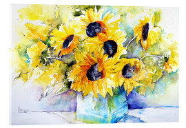 Acrylic glass  Sunflowers in Vase - Brigitte Dürr