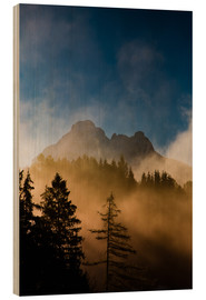 Wood print  Foggy Morning in the Alps - Michael Helmer