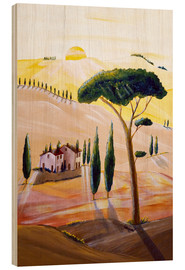 Wood print  Tuscany in the morning - Christine Huwer