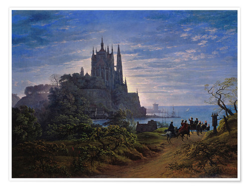 Premium poster Gothic church on a cliff by the sea
