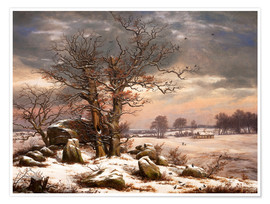 Premium poster Megalithic grave in winter