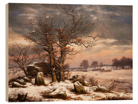 Wood print  Megalithic grave in winter - Johan Christian Clausen Dahl