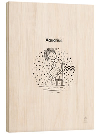 Wood print  Zodiac Aquarius - boy - Petit Griffin