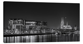Canvas print  Cologne night Skyline black / white - rclassen