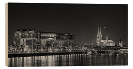 Wood print  Cologne night Skyline black / white - rclassen