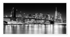 Premium poster  New York City Skyline with Brooklyn Bridge (Monochrome) - Sascha Kilmer