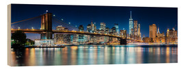 Wood print  New York City Skyline with Brooklyn Bridge (panoramic view) - Sascha Kilmer