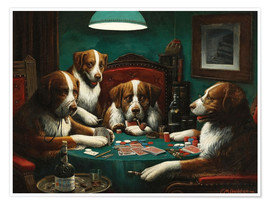 Poster  The poker game - Cassius Marcellus Coolidge