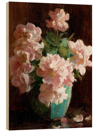 Wood print  Pink Roses - Charles Courtney Curran