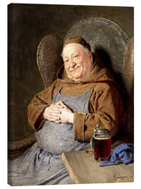 Canvas print  Sitting monk with tankards - Eduard Grützner
