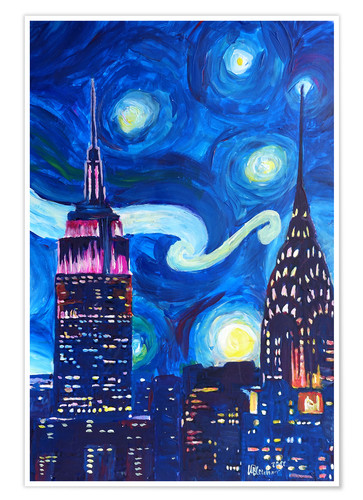 Premium poster Starry Night, in New York - Van Gogh inspirations in Manhattan