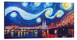 Aluminium print  Starry Night in Cologne - Van Gogh inspirations on Rhine with Cathedral and Hohenzollern Bridge - M. Bleichner