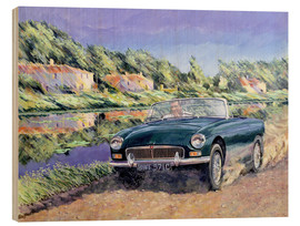 Wood print  MGB on a French channel - Clive Metcalfe