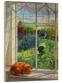 Wood print  Cat in the window in summer - Timothy Easton