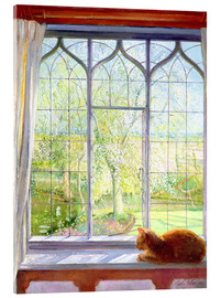 Acrylic print  Cat in window in spring - Timothy Easton