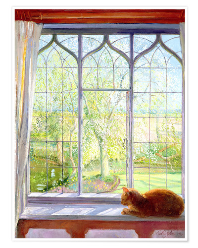 Premium poster Cat in window in spring