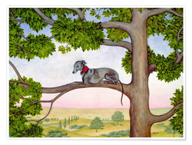 Premium poster Whippet on the tree