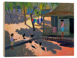Wood print  Hens and Chickens, Cuba, 1997 - Andrew Macara