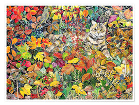 Premium poster  Tabby in autumn leaves, 1996 - Hilary Jones