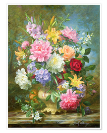 Premium poster Peonies and mixed flowers