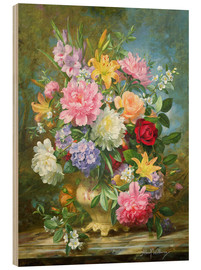 Wood print  Peonies and mixed flowers - Albert Williams