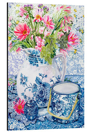 Aluminium print  Gerberas in a porcelain pot with other vessels - Joan Thewsey