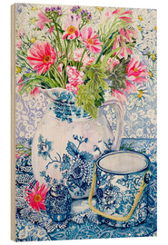 Wood print  Gerberas in a porcelain pot with other vessels - Joan Thewsey