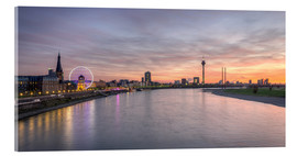 Acrylic print  Dusseldorf Skyline at blazing red sunset - Michael Valjak