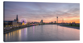 Canvas print  Dusseldorf Skyline at blazing red sunset - Michael Valjak