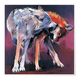 Poster  Two Wolves - Mark Adlington