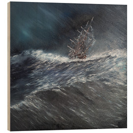 Wood print  HMS Beagle in a storm at Cape Horn, 1832 - Vincent Alexander Booth