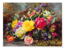 Poster  Roses by a Pond - Albert Williams