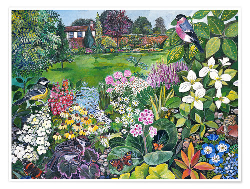 Premium poster The Garden with Birds and Butterflies