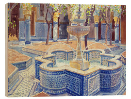 Wood print  The blue fountain - Lucy Willis